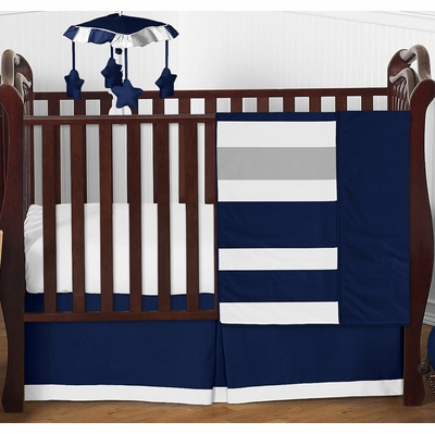 Stripe Navy and Gray 4 Piece Bumperless Crib Bedding Collection