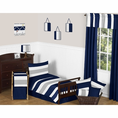 Stripe Navy and Gray Toddler Bedding Collection