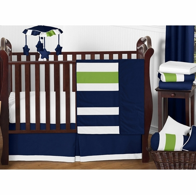 Stripe Navy and Lime 11 Piece Bumperless Crib Bedding Collection