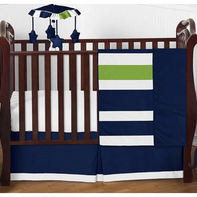 Stripe Navy and Lime 4 Piece Bumperless Crib Bedding Collection