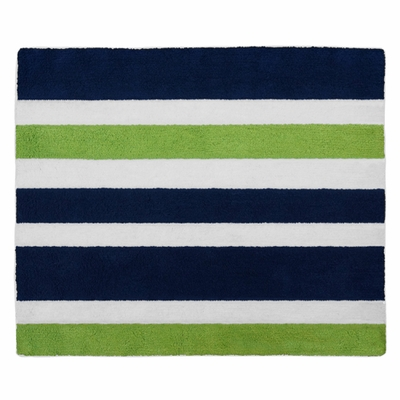 Stripe Navy and Lime Collection Accent Floor Rug