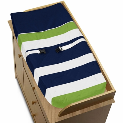Stripe Navy and Lime Collection Changing Pad Cover