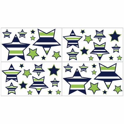 Stripe Navy and Lime Collection Collection Peel and Stick Wall Decal Stickers - Set of 4 Sheets