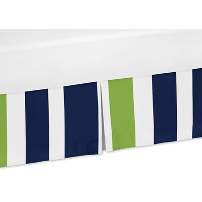 Stripe Navy and Lime Collection Crib Bed Skirt