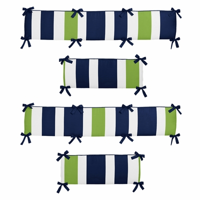 Stripe Navy and Lime Collection Crib Bumper Pad