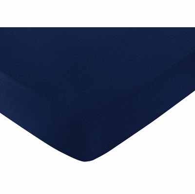 Stripe Navy and Lime Collection Crib Sheet - Navy Blue