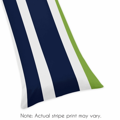 Stripe Navy and Lime Collection Full Length Body Pillow Cover