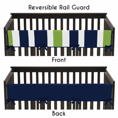 Stripe Navy and Lime Collection Long Rail Guard Cover