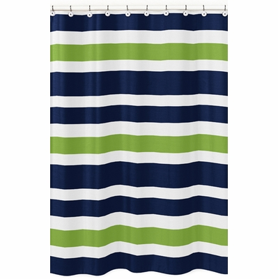 Stripe Navy and Lime Collection Shower Curtain
