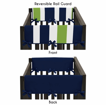 Stripe Navy and Lime Collection Side Rail Guard Covers - Set of 2