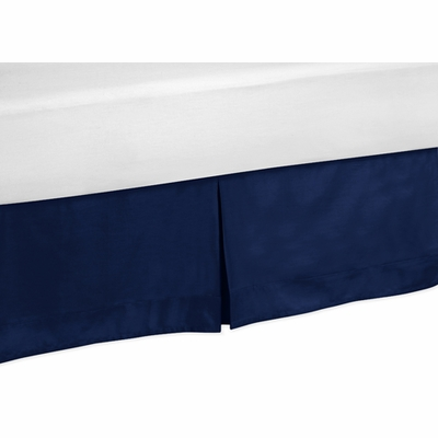 Stripe Navy and Lime Collection Toddler Bed Skirt