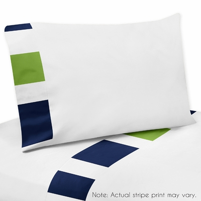 Stripe Navy and Lime Collection Queen Sheet Set