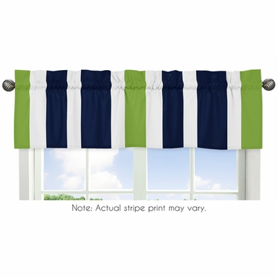 Stripe Navy and Lime Collection Window Valance