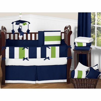 Stripe Navy and Lime Crib Bedding Collection