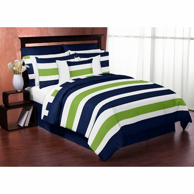 Stripe Navy and Lime Full/Queen Bedding Collection