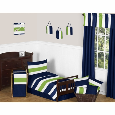 Stripe Navy and Lime Toddler Bedding Collection