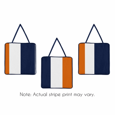 Stripe Navy Blue and Orange Collection Wall Hangings