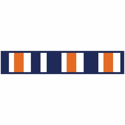 Stripe Navy Blue And Orange Collection Wallpaper Border