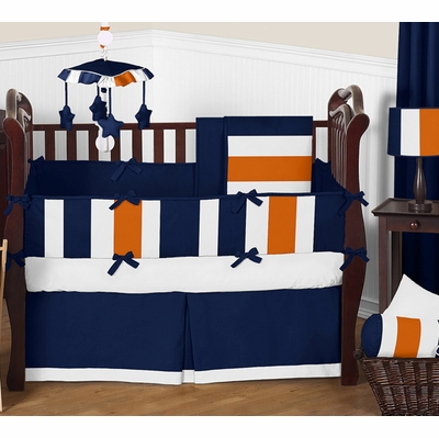 Stripe Navy Blue and Orange Crib Bedding Collection