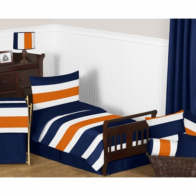 Stripe Navy Blue and Orange Toddler Bedding Collection