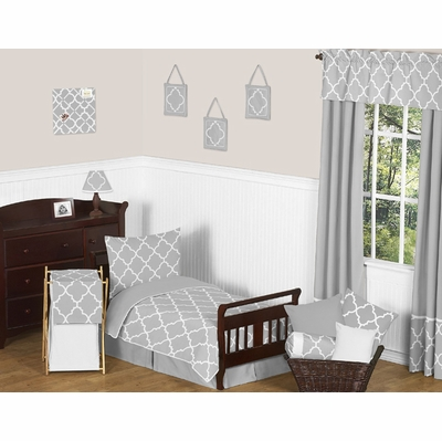 Trellis Gray and White Toddler Bedding Collection