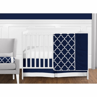 Trellis Navy Blue and White Bumperless Crib Bedding Collection