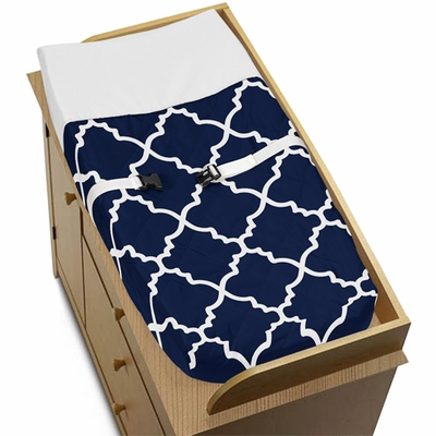 Trellis Navy Blue and White Collection Changing Pad Cover