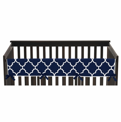 Trellis Navy Blue and White Collection Long Rail Guard Cover