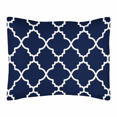 Trellis Navy Blue and White Collection Pillow Sham