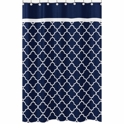 Trellis Navy Blue and White Collection Shower Curtain