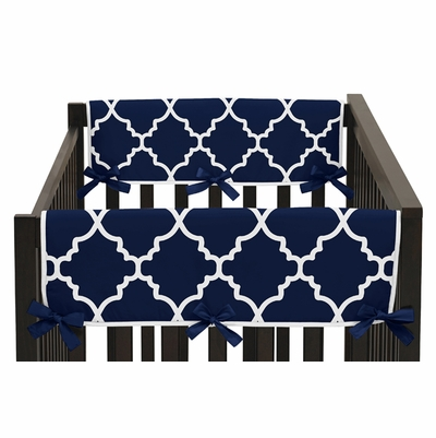 Trellis Navy Blue and White Collection Side Rail Guard Covers - Set of 2