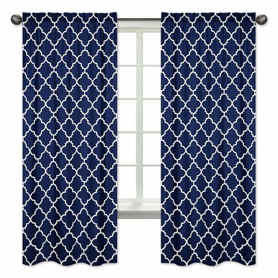 Trellis Navy Blue and White Collection Window Panels - Set of 2