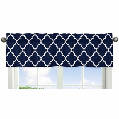 Trellis Navy Blue and White Collection Window Valance