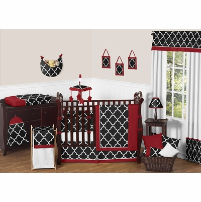 Trellis Red and Black Crib Bedding Collection