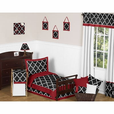 Trellis Red and Black Toddler Bedding Collection