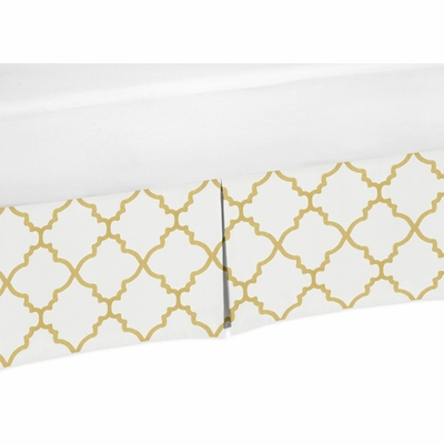 Trellis White and Gold Collection Trellis Print Crib Bed Skirt