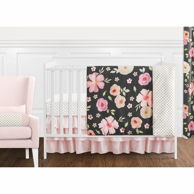 Watercolor Floral Black and Pink Collection 11 Piece Bumperless Crib Bedding