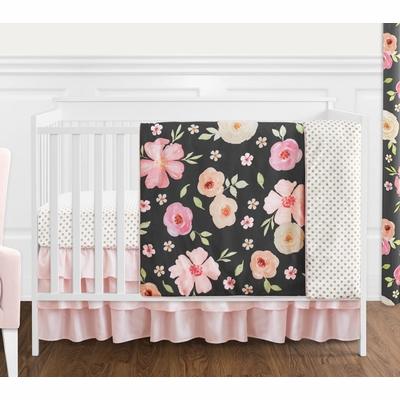 Watercolor Floral Black and Pink Collection 4 Piece Bumperless Crib Bedding