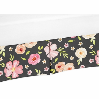 Watercolor Floral Black and Pink Collection Crib Bed Skirt