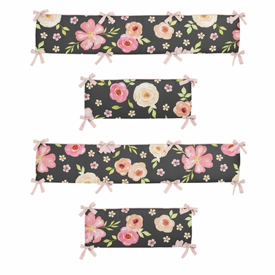 Watercolor Floral Black and Pink Collection Crib Bumper Pad