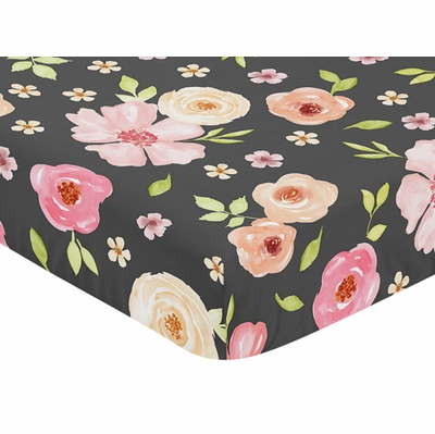 Watercolor Floral Black and Pink Collection Crib Sheet