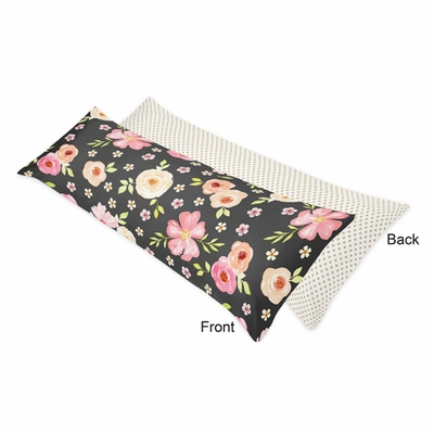 Watercolor Floral Black and Pink Collection Full Length Body Pillow Cover