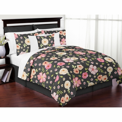 Watercolor Floral Black and Pink Collection Full/Queen Bedding