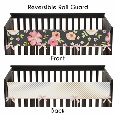 Watercolor Floral Black and Pink Collection Long Rail Guard Cover