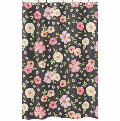 Watercolor Floral Black and Pink Collection Shower Curtain