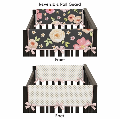 Watercolor Floral Black and Pink Collection Side Rail Guard Covers - Set of 2