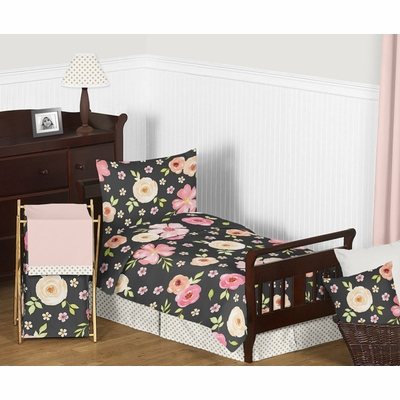 Watercolor Floral Black and Pink Collection Toddler Bedding
