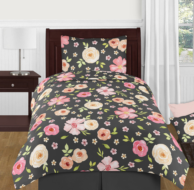 Watercolor Floral Black And Pink Collection Twin Bedding
