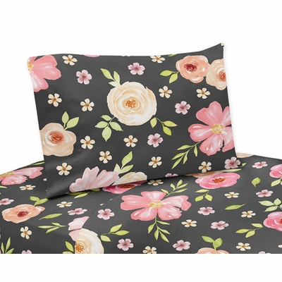 Watercolor Floral Black and Pink Collection Twin Sheet Set