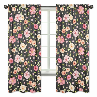Watercolor Floral Black and Pink Collection Window Panels - Set of 2